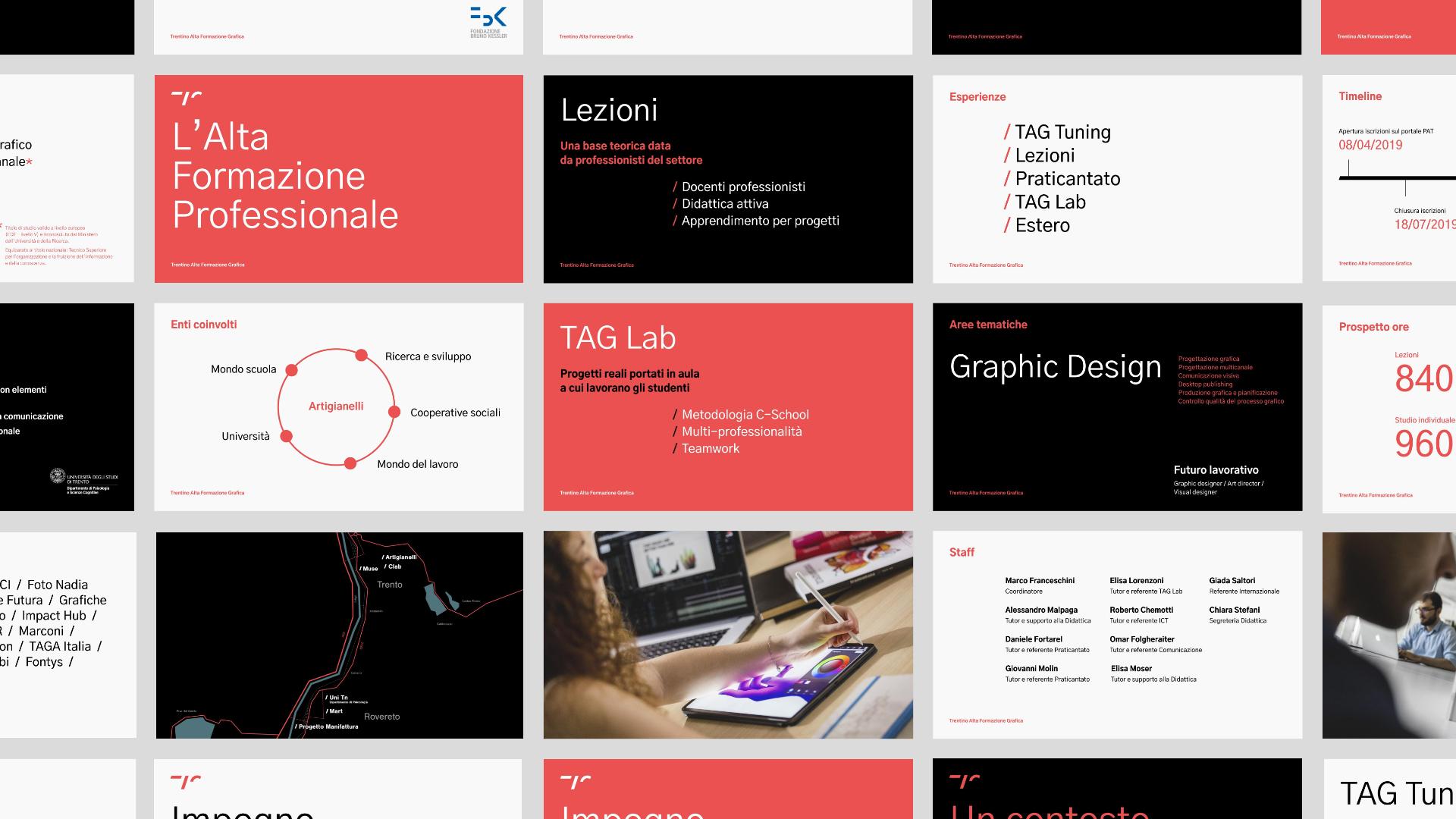 Esempi di layout sviluppati per le slide dell'Open Day.